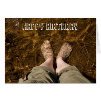 Paddling at the Beach Happy Birthday Card