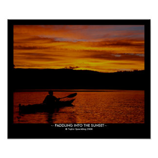Paddling into the Sunset - With Title Bar Poster