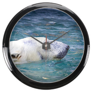Paddling Polar Bear Aquarium Clocks