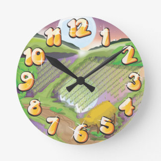 Paddy field of the far east round clock