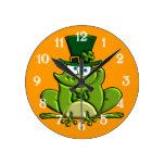 Paddy O'Frog Round Clock