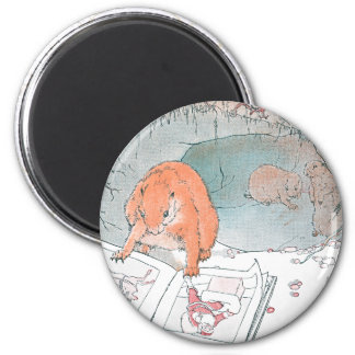 Paddy Paws Reads a Picture Book 2 Inch Round Magnet