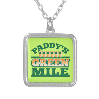 Paddy's GREEN MILE from The Beer Shop Square Pendant Necklace