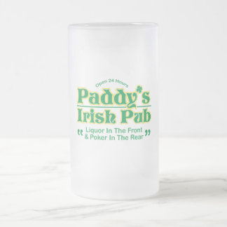 PADDY'S IRISH PUB FROSTED GLASS BEER MUG
