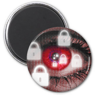 padlock eye looks at viewer concept magnet