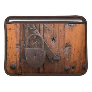 Padlock on wooden door MacBook air sleeve