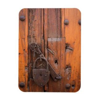 Padlock on wooden door rectangular magnet