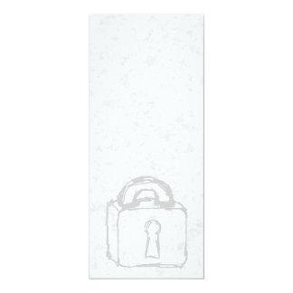 Padlock Sketch. Top Secret or Security. 4x9.25 Paper Invitation Card