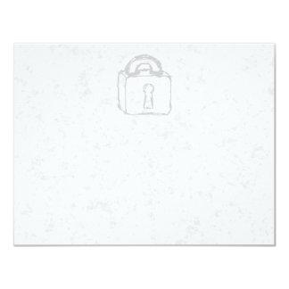 Padlock Sketch. Top Secret or Security. 4.25x5.5 Paper Invitation Card