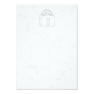Padlock Sketch. Top Secret or Security. 5x7 Paper Invitation Card