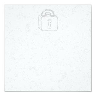 Padlock Sketch. Top Secret or Security. 5.25x5.25 Square Paper Invitation Card