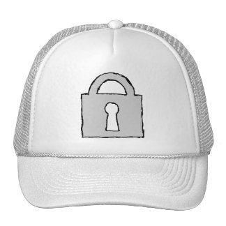 Padlock. Top Secret or Confidential Icon. Mesh Hats