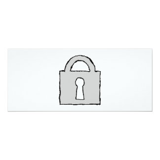 Padlock. Top Secret or Confidential Icon. 4x9.25 Paper Invitation Card