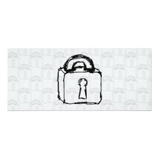 Padlock. Top Secret or Security Icon. 4x9.25 Paper Invitation Card