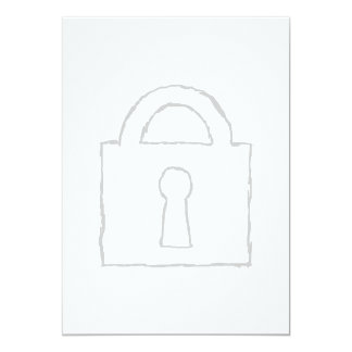 Padlock. Top Secret or Security Icon. 5x7 Paper Invitation Card
