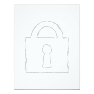 Padlock. Top Secret or Security Icon. 4.25x5.5 Paper Invitation Card