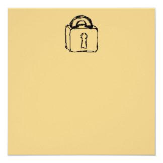 Padlock. Top Secret or Security Icon. 5.25x5.25 Square Paper Invitation Card