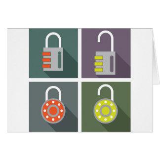 Padlock unlocked locked card