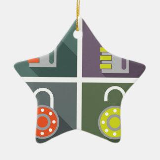 Padlock unlocked locked ceramic ornament