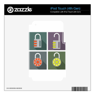 Padlock unlocked locked decal for iPod touch 4G