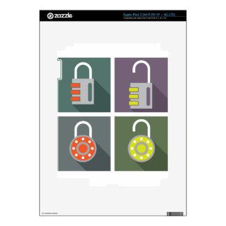 Padlock unlocked locked iPad 3 decals