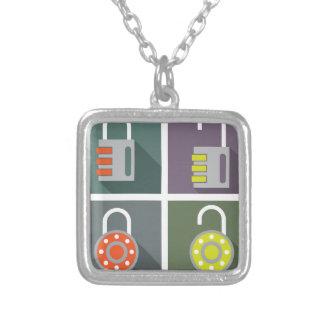 Padlock unlocked locked silver plated necklace