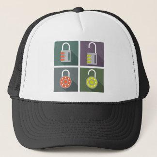 Padlock unlocked locked trucker hat