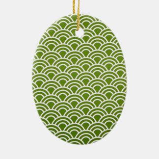 padrão abstrato em verde ceramic ornament