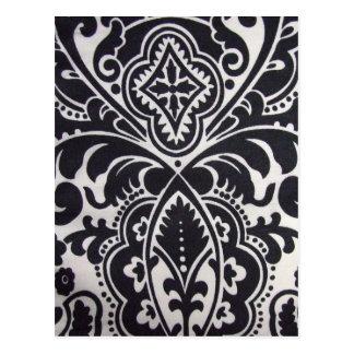 padrão abtrato preto e branco postcard