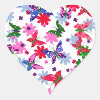 padrão com borboletas heart sticker