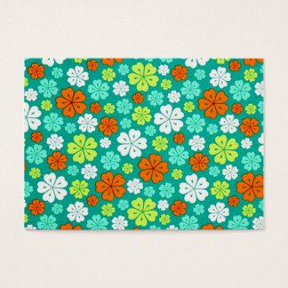 padrão com flores forma de trevo business card