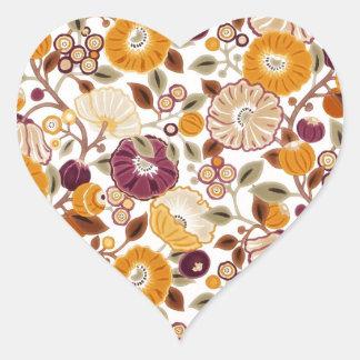 padrão com flores heart sticker