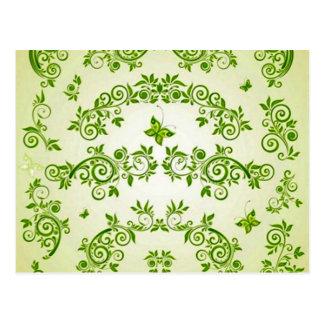 padrão com formas de caracol em verde postcard