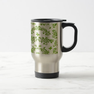 padrão com formas de caracol em verde travel mug