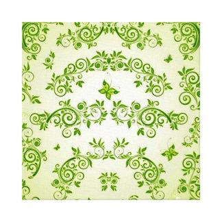 padrão com  formas em caracol verde gallery wrap canvas
