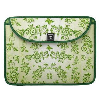 padrão com  formas em caracol verde MacBook pro sleeve