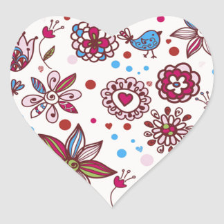 padrão com passaros e flores heart sticker