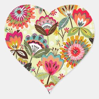 padrão com ramos de flores heart sticker