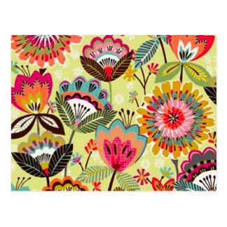 padrão com ramos de flores postcard