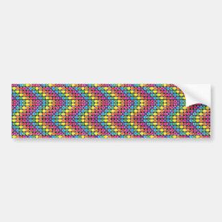 padrão em zig zag colorido bumper sticker