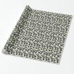 padrão floral a preto papel para presentes
