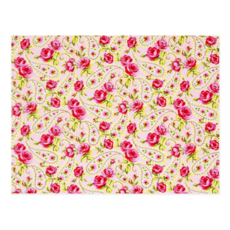 padrao floral de rosas postcard