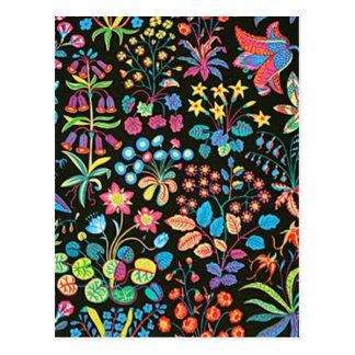padrão floral em fundo escuro postcard