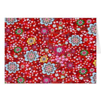 padrão floral em fundo vermelho card