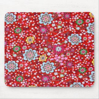 padrão floral em fundo vermelho mouse pad