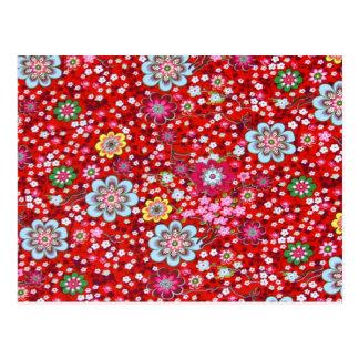 padrão floral em fundo vermelho postcard