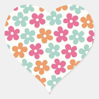 padrão floral heart sticker