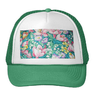 padrão floral trucker hat
