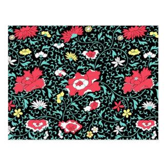 padrão flores vermelhas postcard
