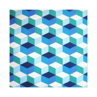 padrão geometrico azul stretched canvas prints